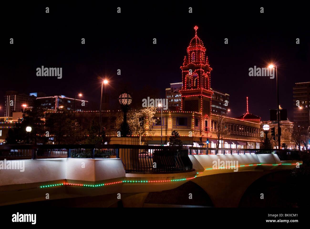 Country Club Plaza and Christmas Lights, Kansas City, Missouri Stock ...