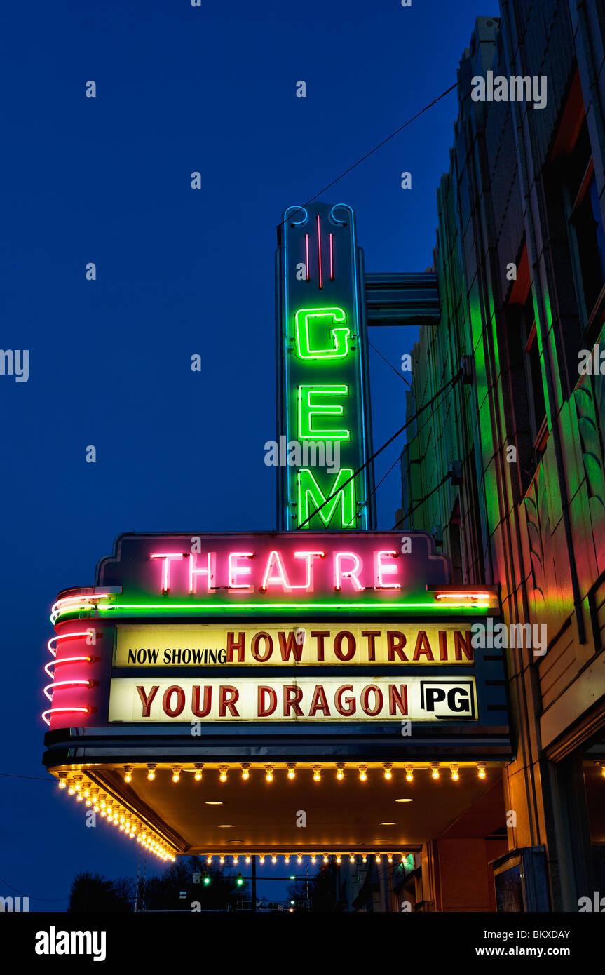 Historic Gem Movie Theatre Neon Marquee at Dusk in Kannapolis, North Carolina - Stock Image