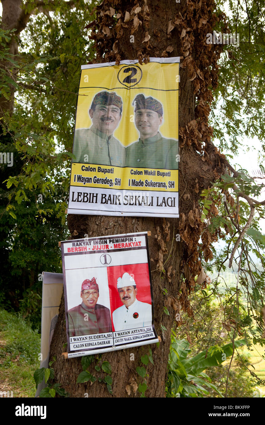 Regional Election posters at Bali, Indonesia 2010 - Stock Image