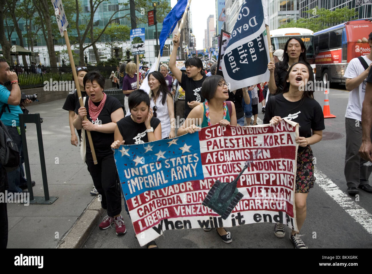 May 2, 2010: International ant-nuclear weapons demonstration and peace march to the United Nations in New York CIty - Stock Image