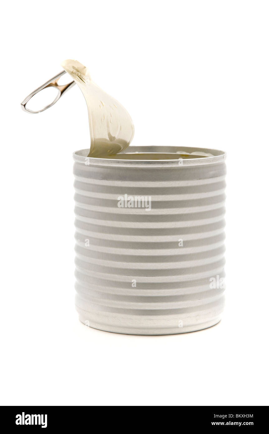 Opened tin can on a white background - Stock Image