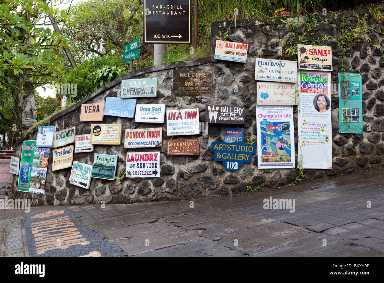 Signs in Ubud, Bali, Indonesia - Stock Image
