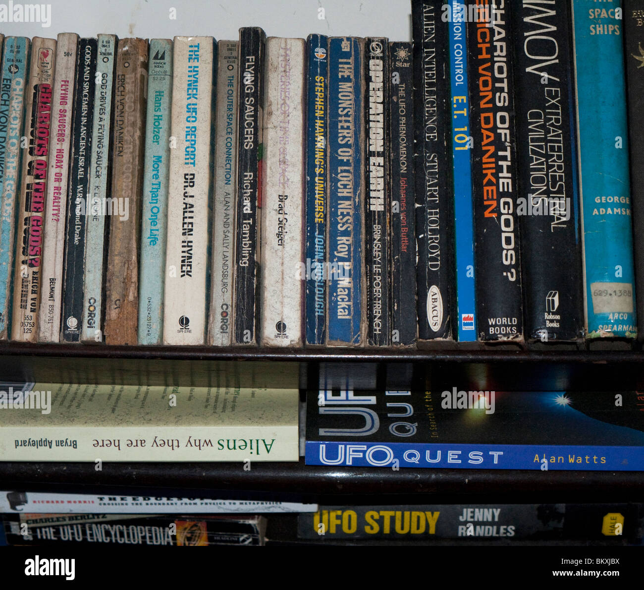 A selection of books on ufo's and aliens - Stock Image