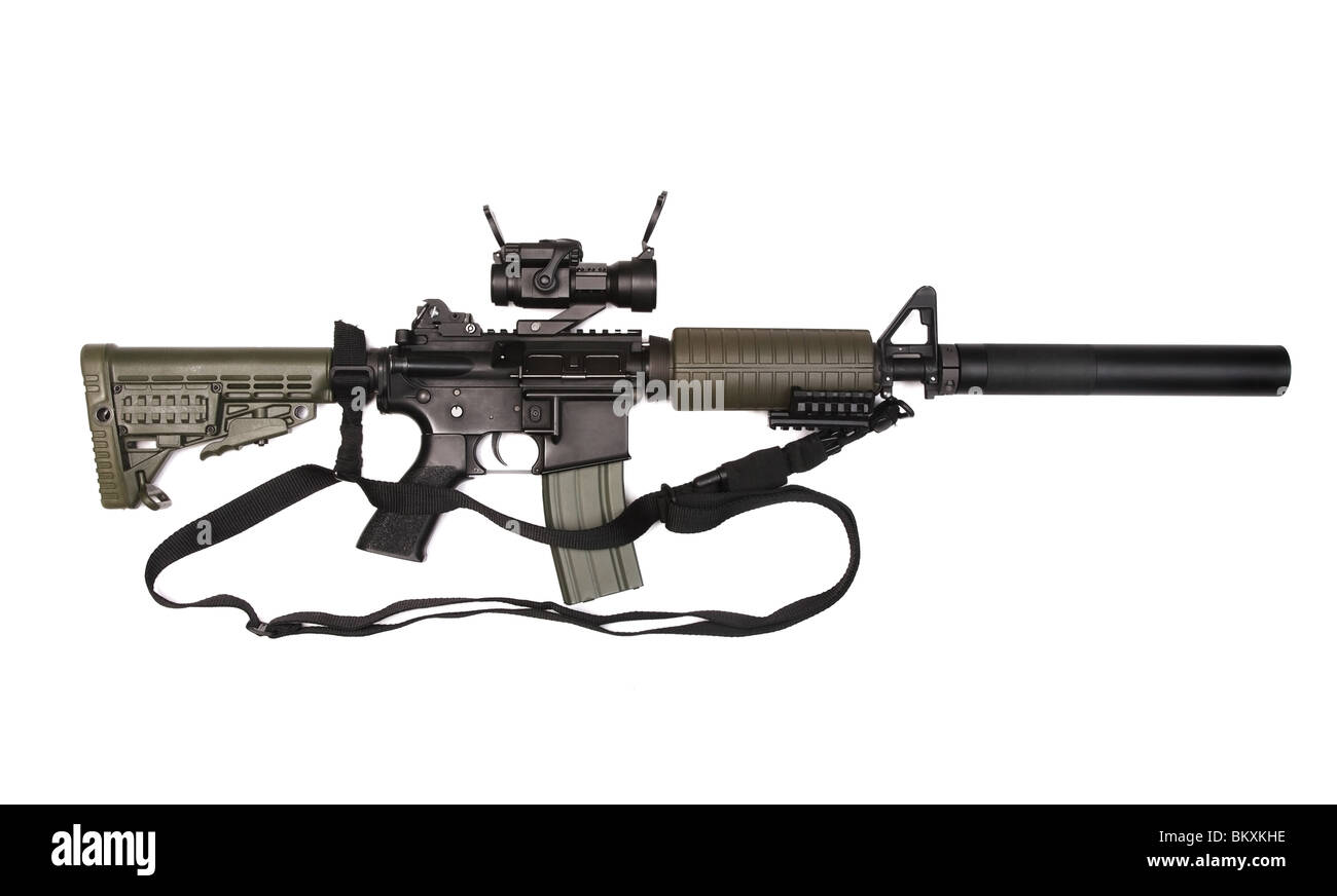 M4A1 custom rifle for paramilitary contractors with red-dot sight, silincer and 3-point sling. Isolated on white - Stock Image
