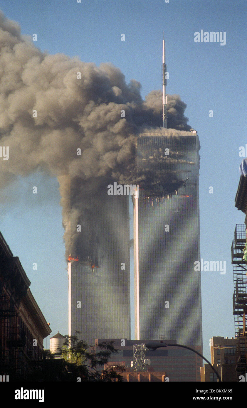 The twin towers of the World Trade Center on the morning of September 11th ©Stacy Walsh Rosenstock/Alamy - Stock Image