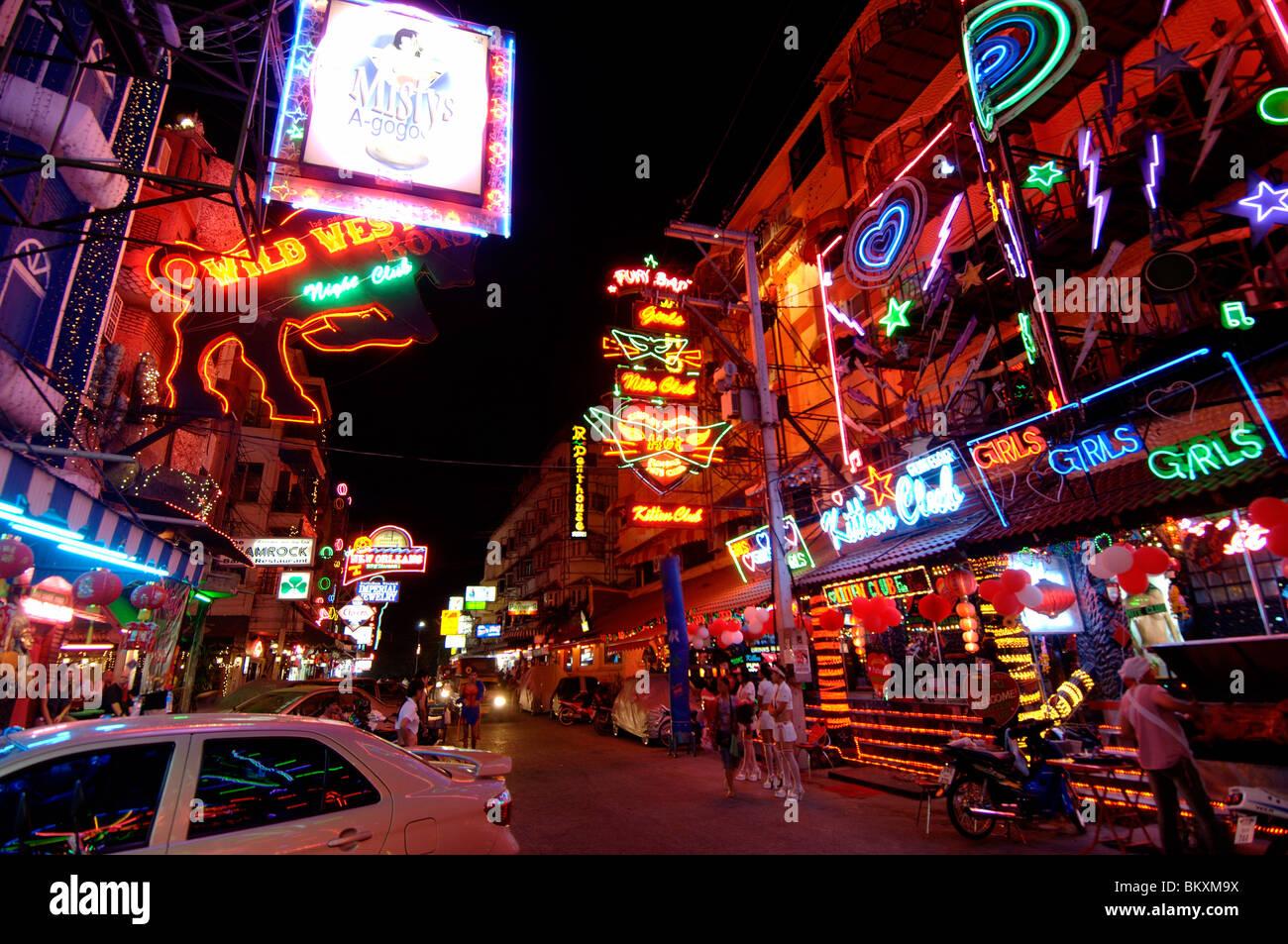 Night life on Pattaya Street ; Pattaya Thailand ; South East Asia - Stock Image