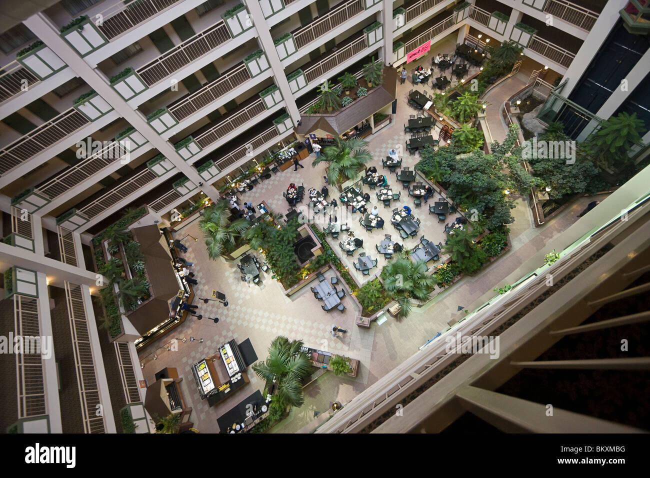 Courtyard of Embassy Suites Hotel, seen from ninth floor. South Lake Tahoe, California, USA. - Stock Image