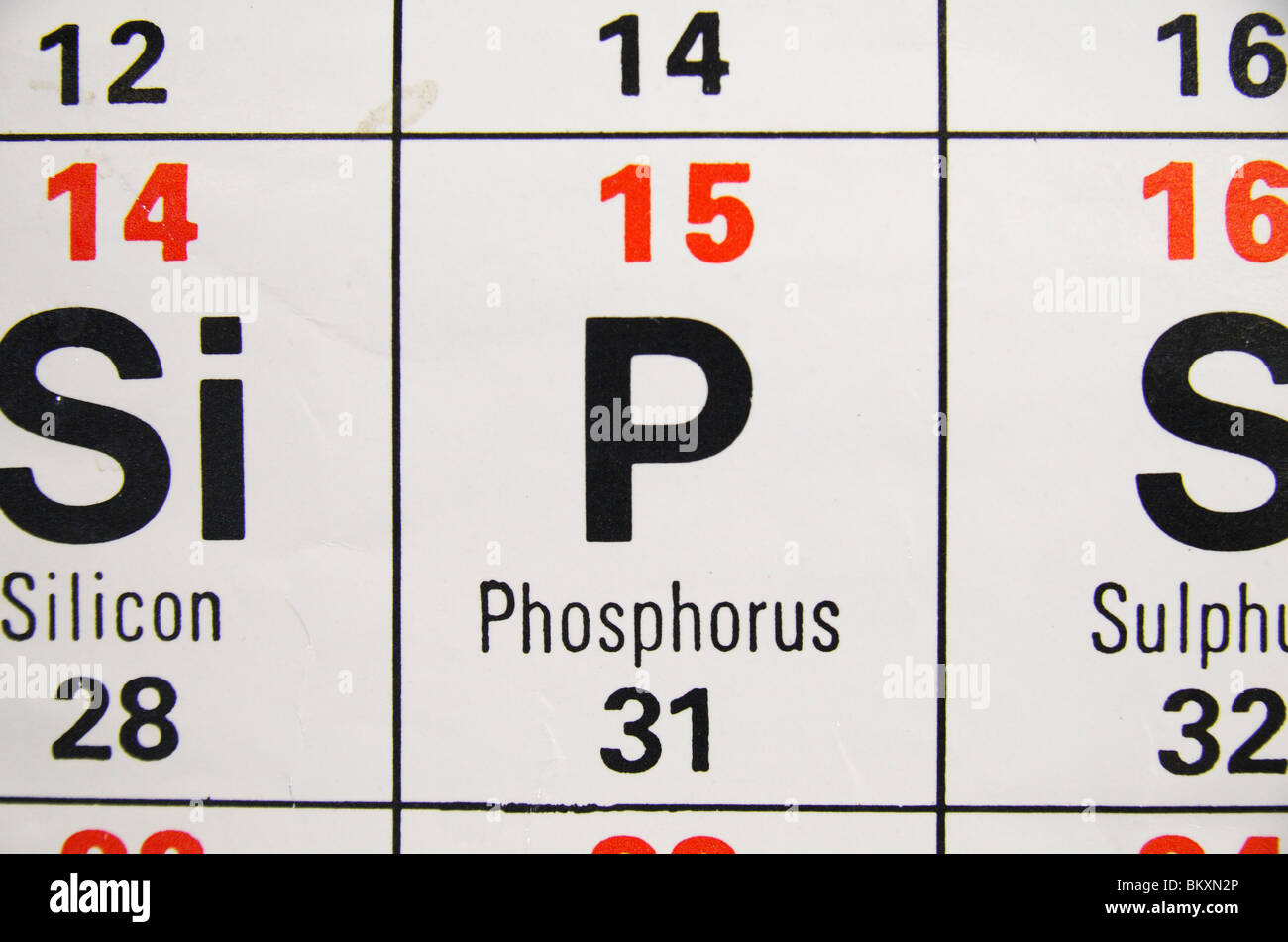 Symbol chemical element phosphorus stock photos symbol chemical close up view of a standard uk high school periodic table focusing on the nonmetal urtaz Images