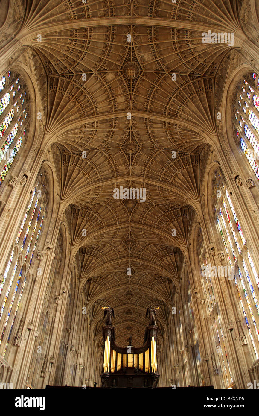 Vaulting at King's College Chapel Cambridge, England UK. - Stock Image