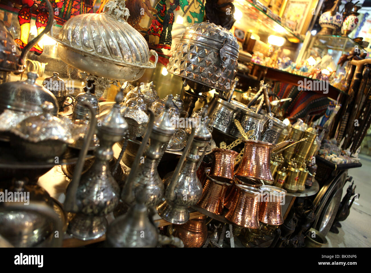 Turkish teapots and metalware in the Grand Bazaar in central Istanbul, Turkey in Europe. Stock Photo