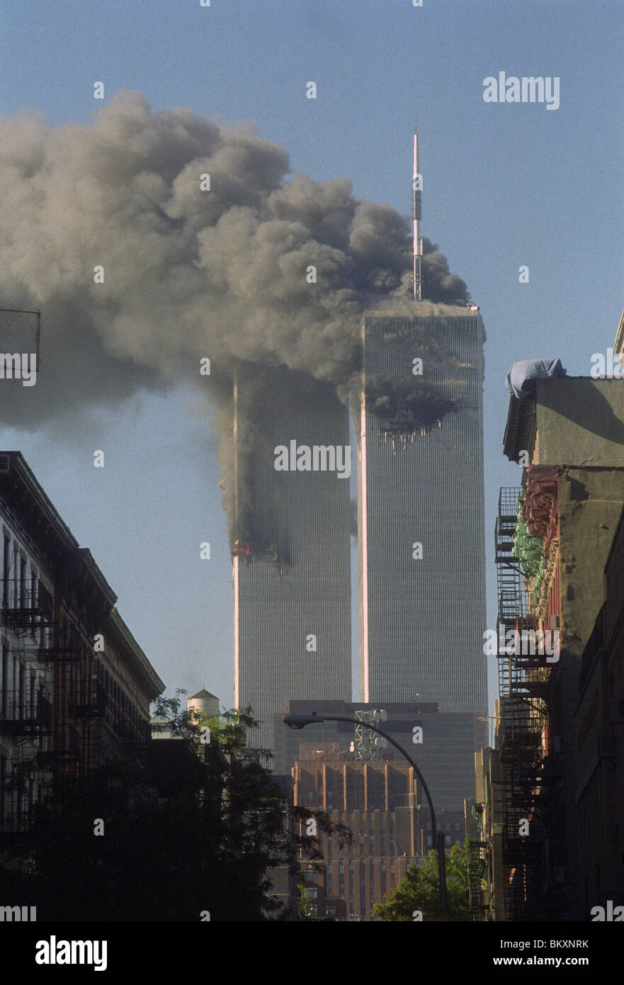Twin towers of the World Trade Center on the morning of September 11 2001 ©Stacy Walsh Rosenstock/Alamy - Stock Image