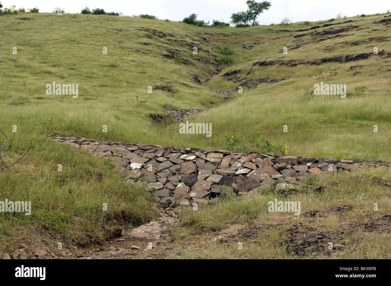 Boulder checks dam at Ralegan Siddhi near Pune ; Maharashtra ; India - Stock Image