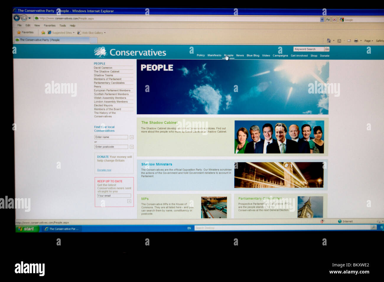 Conservative Party Website showing David Cameron, Prime Minister - Stock Image
