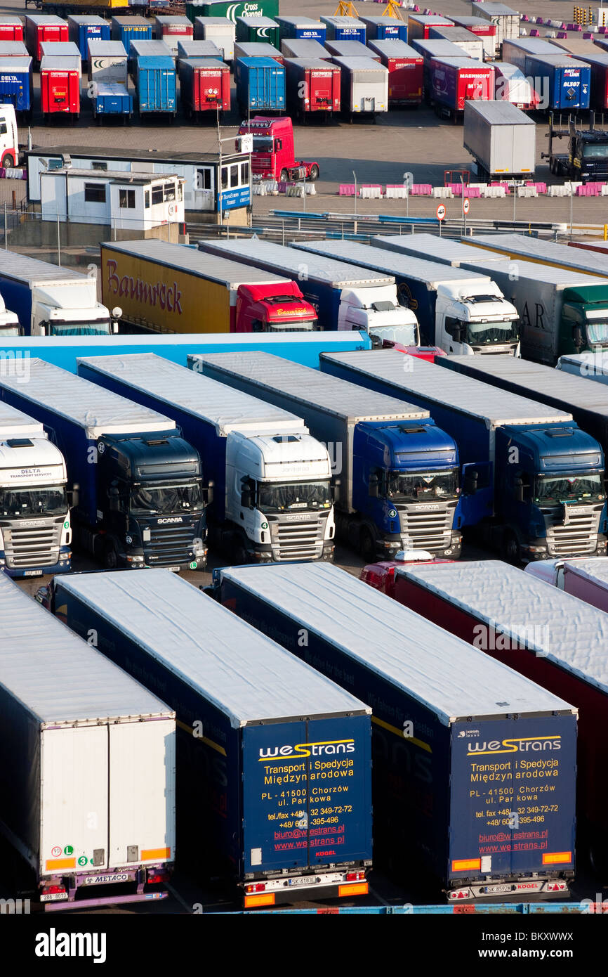 England, Dover. HGV heavy trucks parked in rows awaiting shipment to France at Dover port. Daytime. - Stock Image