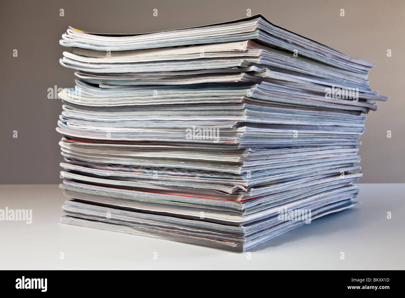 Pile of magazines - Stock Image