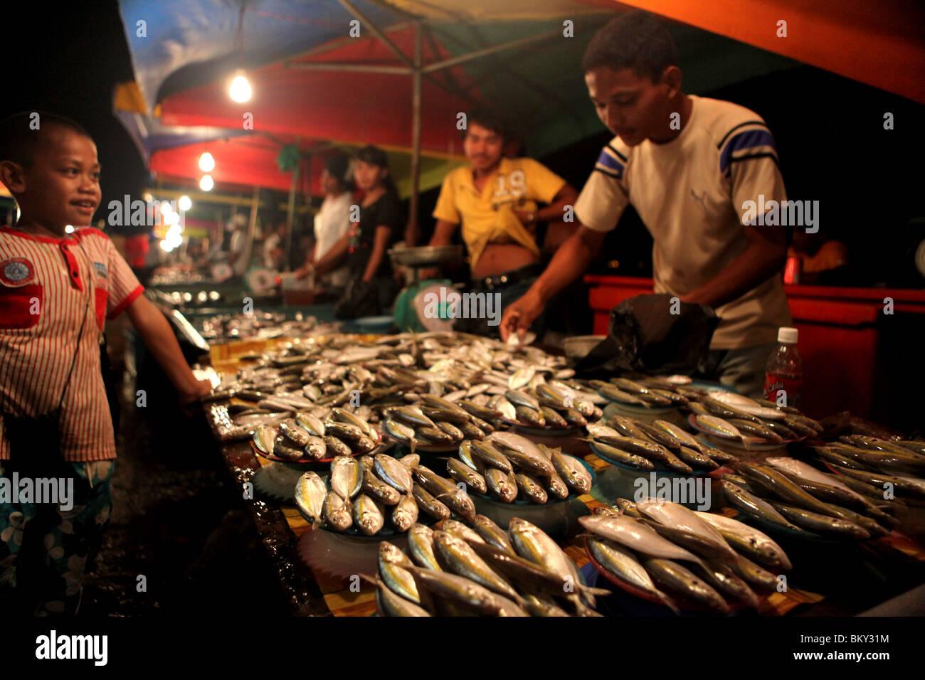 Fresh fish on display at the night market in Kota Kinabalu, Sabah state, Borneo in Malaysia. - Stock Image