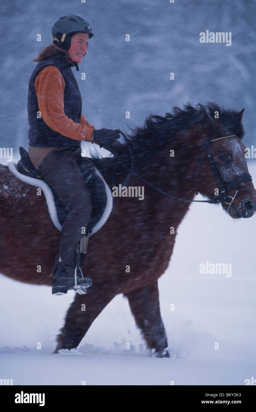 Woman riding a horse in deep snow during a snowstorm. - Stock Image