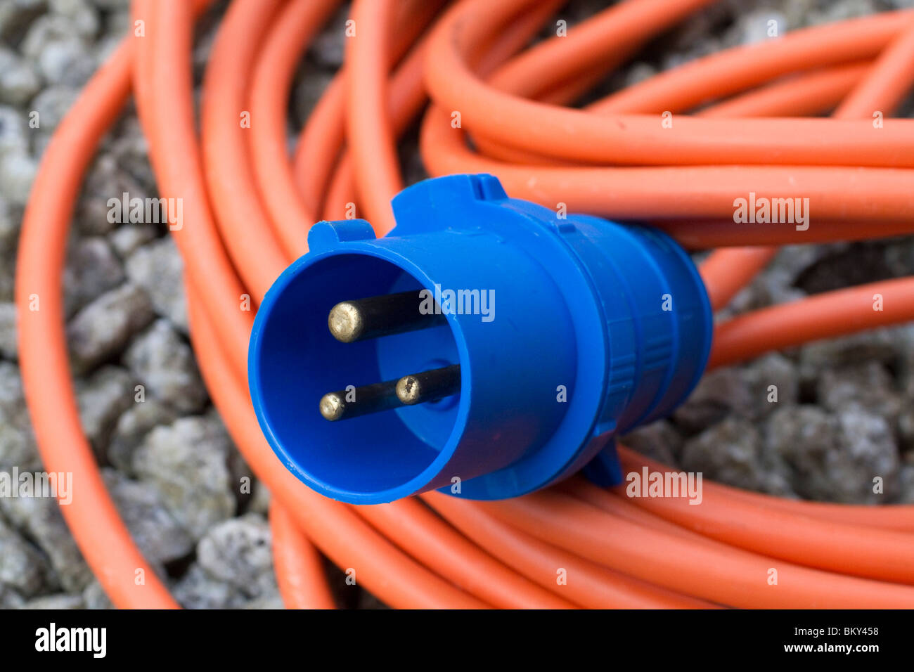 Electric plug and wire for a motorcaravan - Stock Image