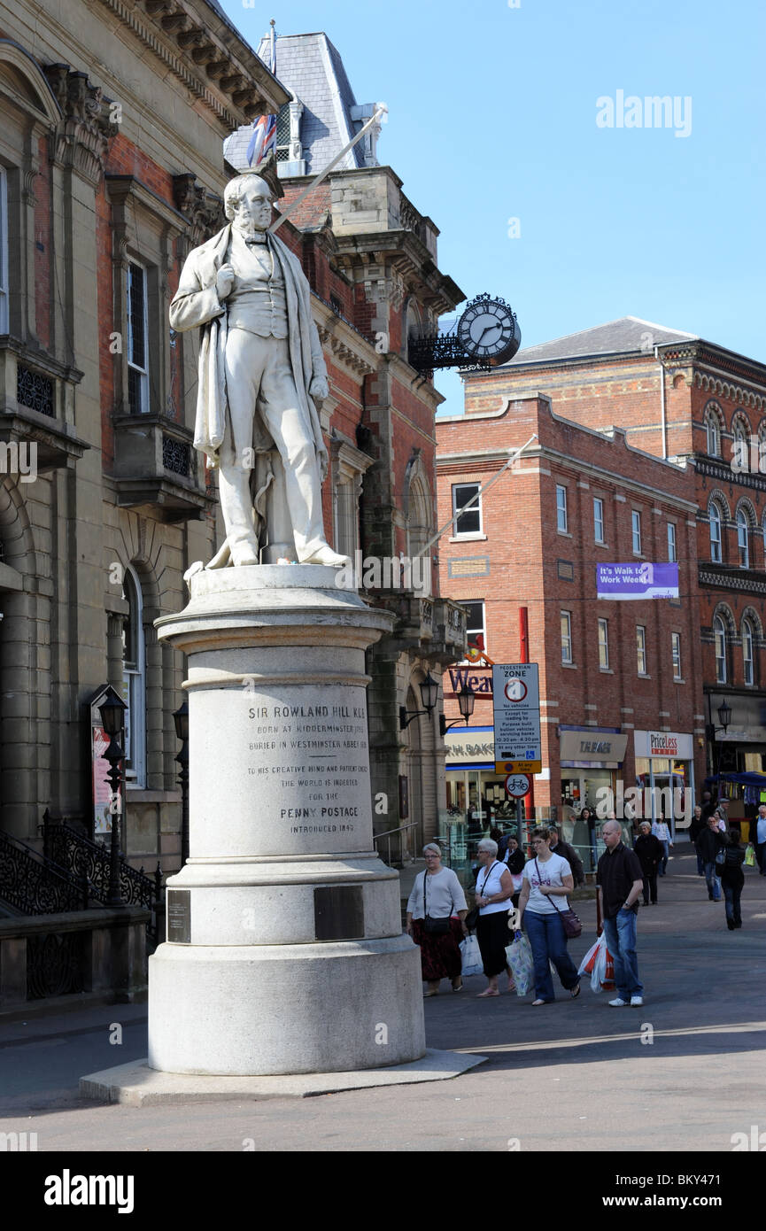 Statue of Sir Rowland Hill the inventor of the Penny Stamp in Kidderminster Worcestershire Uk - Stock Image