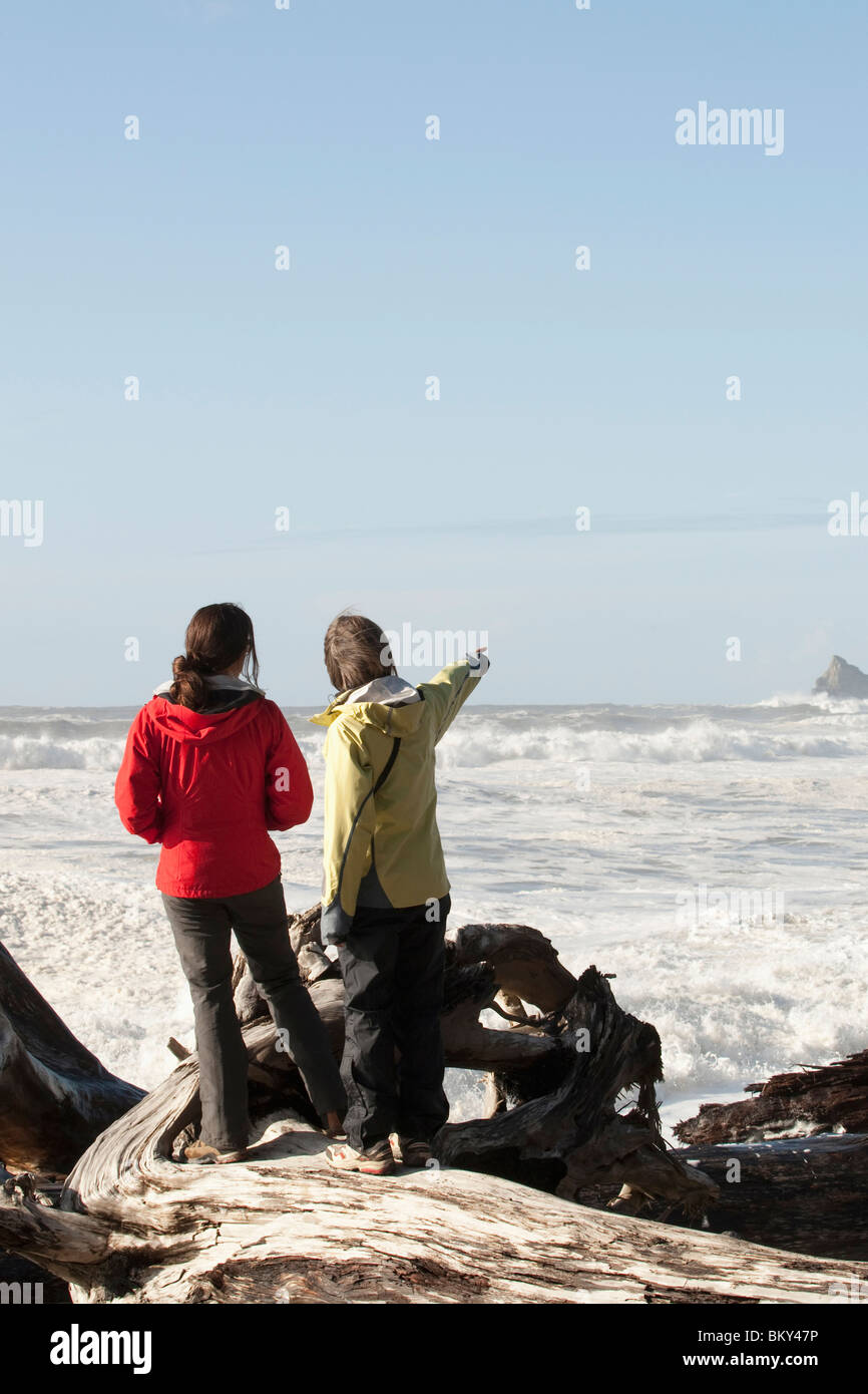 Two woman looking out over the massive swells in the Pacific Ocean. - Stock Image