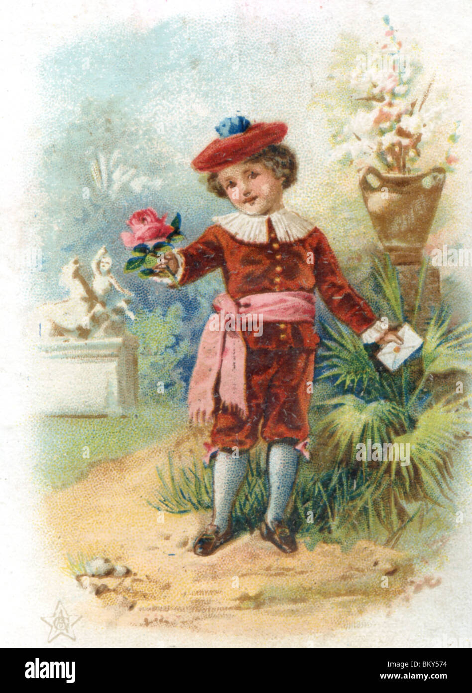 Young Boy Dressed in Red Velvet Delivering a Letter and Red Rose - Stock Image