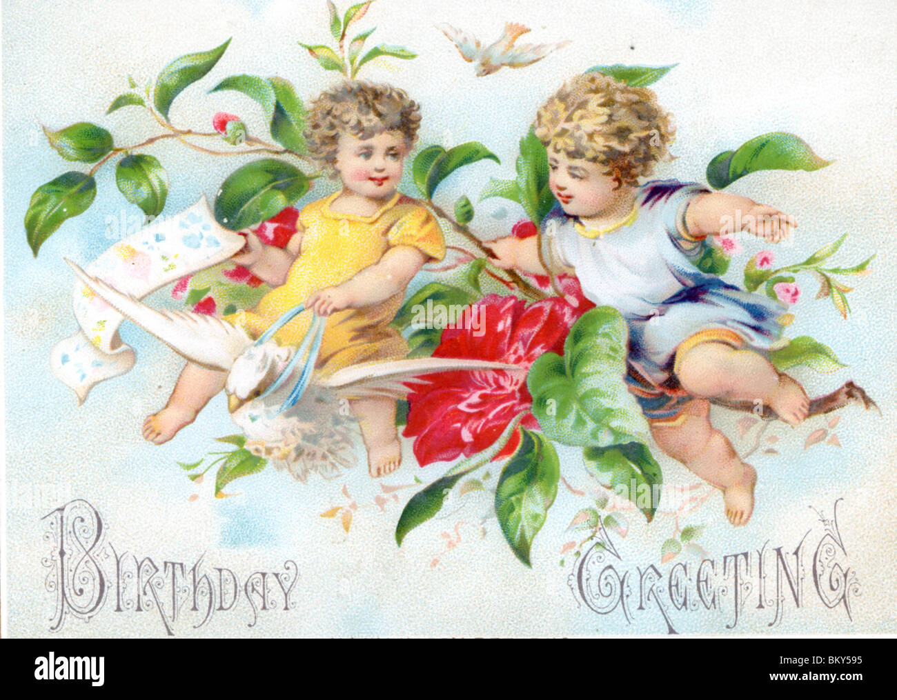 Children Riding On A Dove Bringing Birthday Greetings Stock Photo