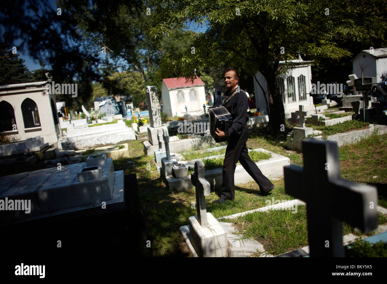 An accordion player waits for customers to hire him to play at grave sites in the Dolores cemetery in Mexico City. - Stock Image