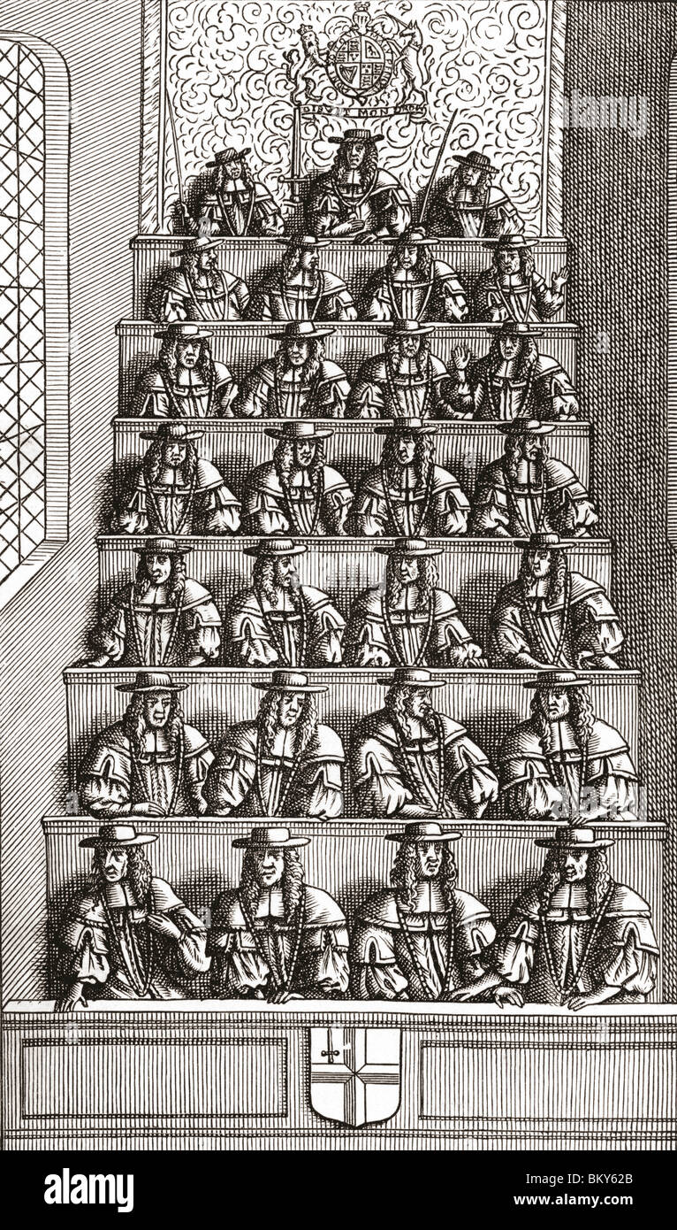 The Lord Mayor of London and Court Of Aldermen in the 17th century - Stock Image