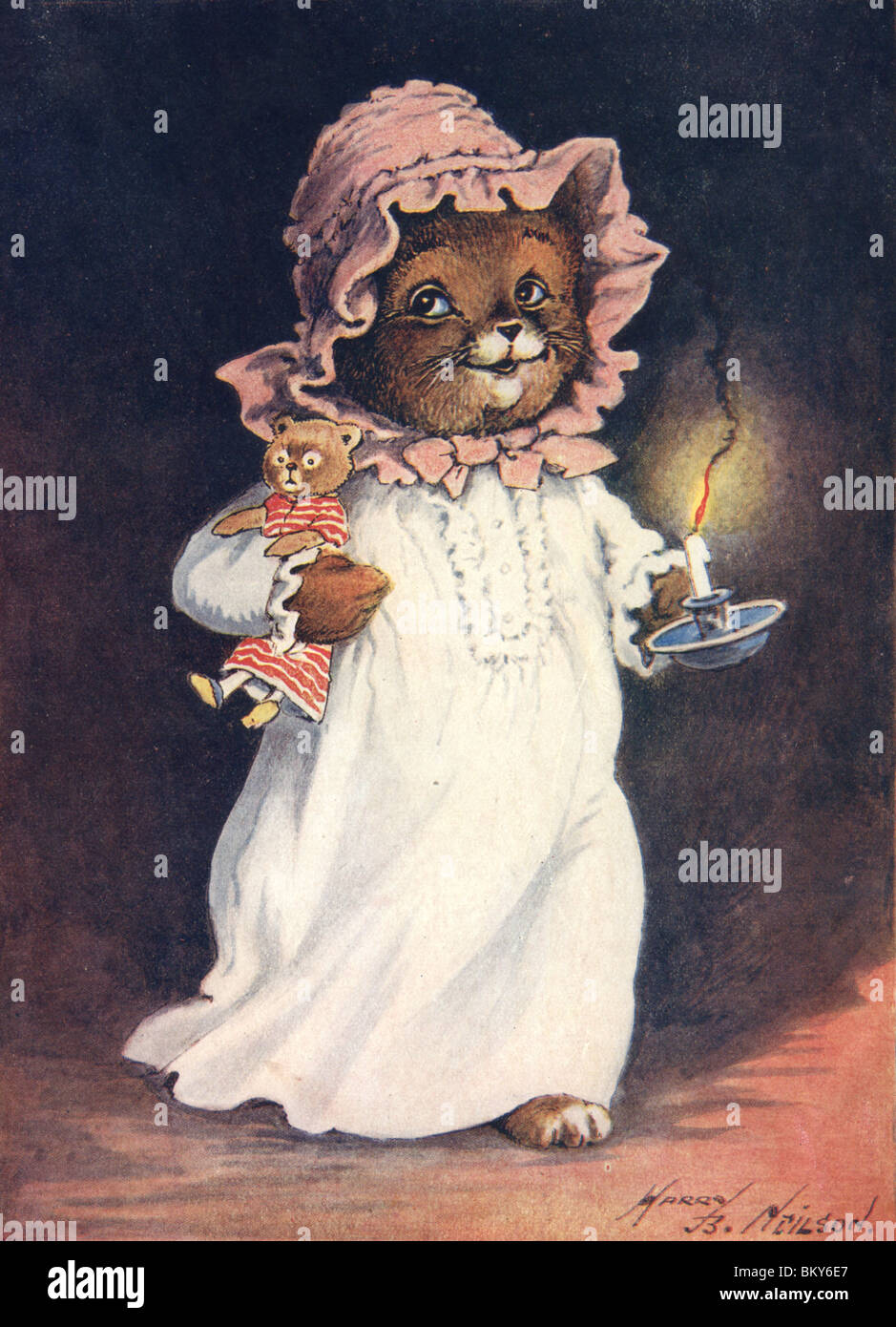 Cat in her Nightie Holding a Candle - Stock Image