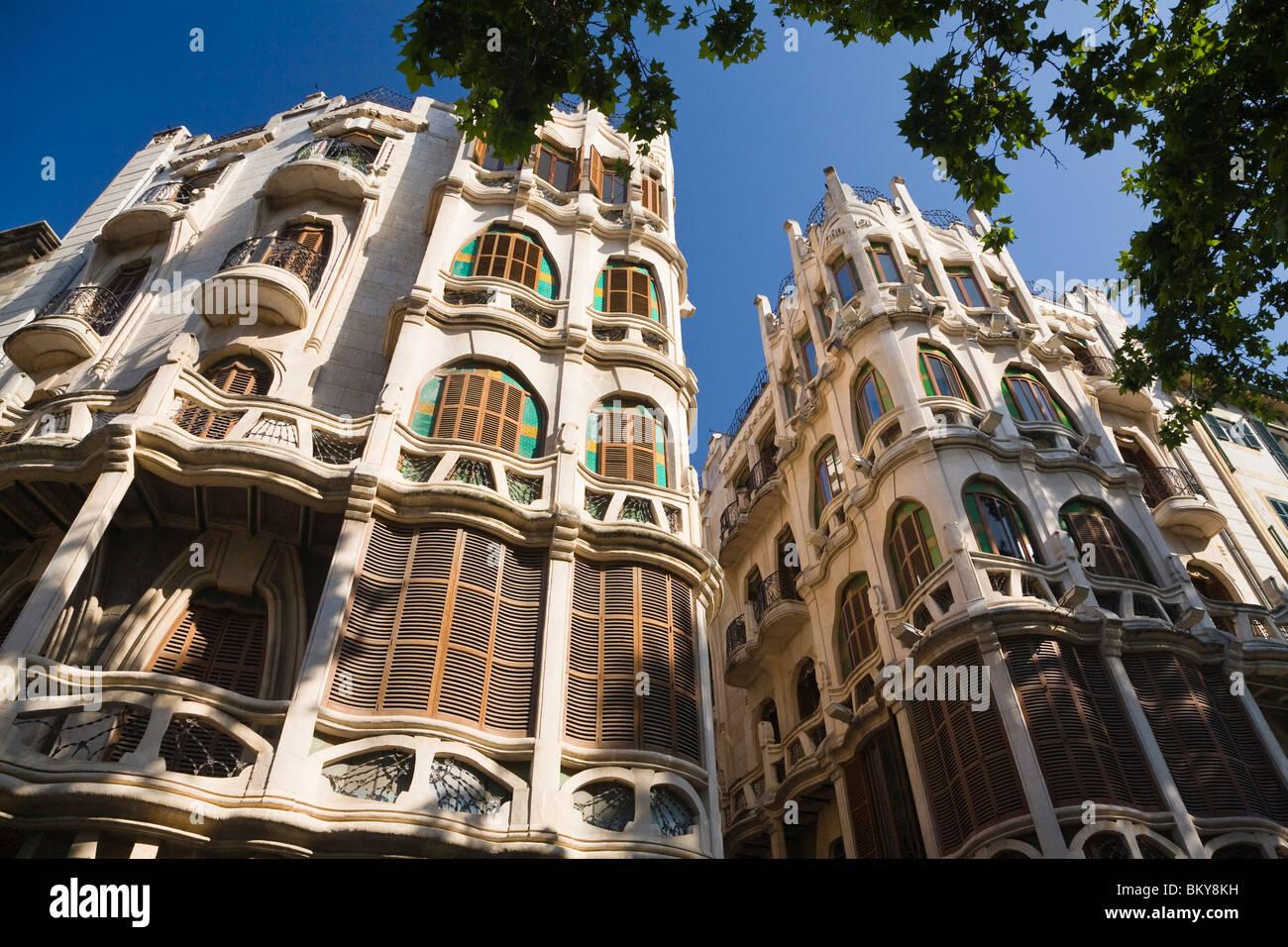 Facades of apartment houses in the sunlight, Placa del Mercat, Palma, Mallorca, Spain, Europe - Stock Image