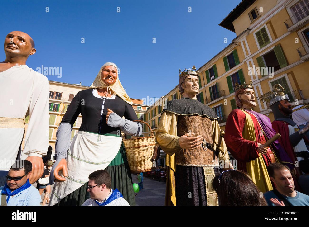 Traditional figures at a square, Diada per la Llengua, Placa Major, Palma, Mallorca, Spain, Europe - Stock Image