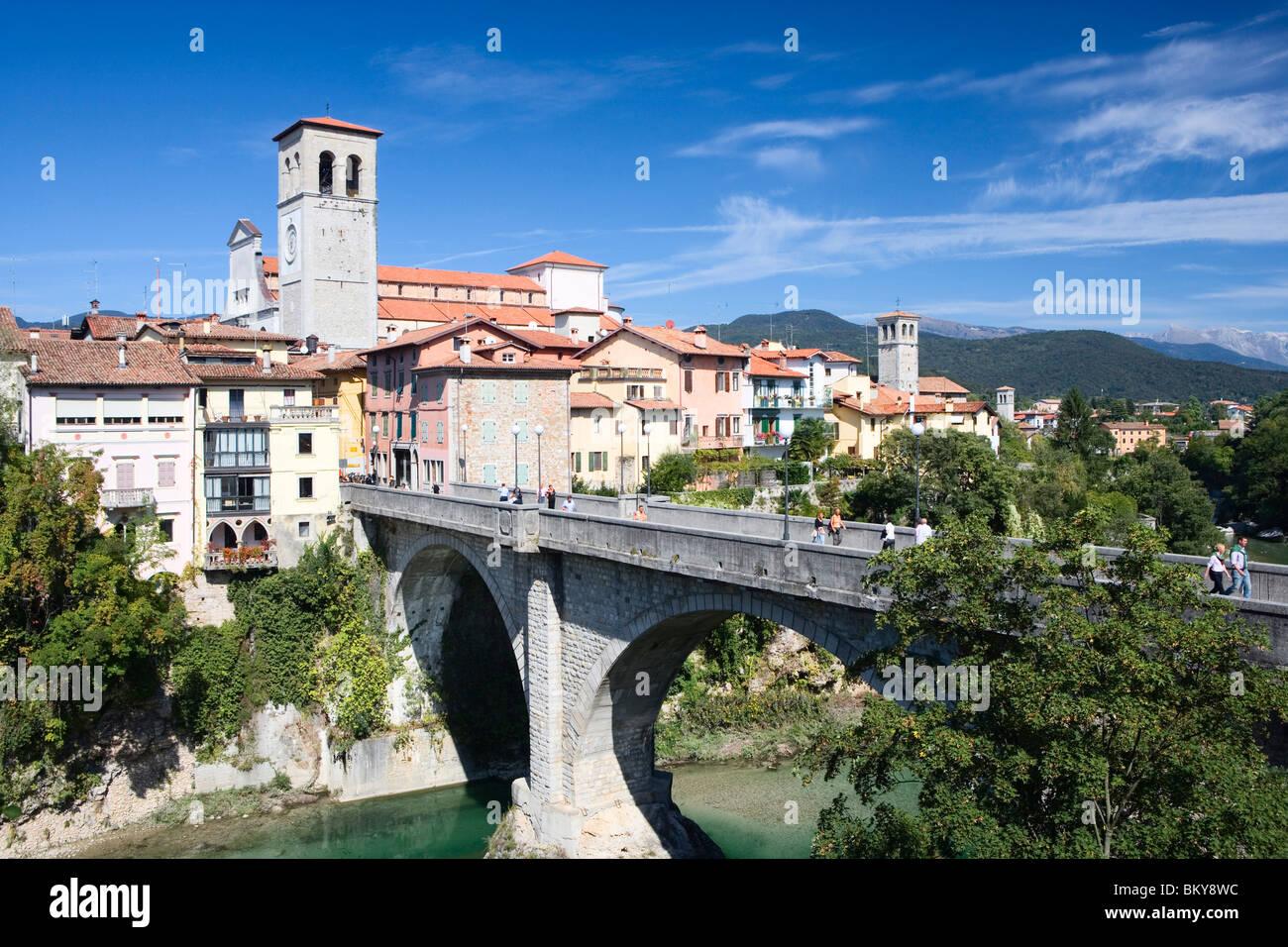 Natisone river with Devil's bridge (15th century, rebuilt in 1918), Cividale del Friuli, Friuli-Venezia Giulia, - Stock Image