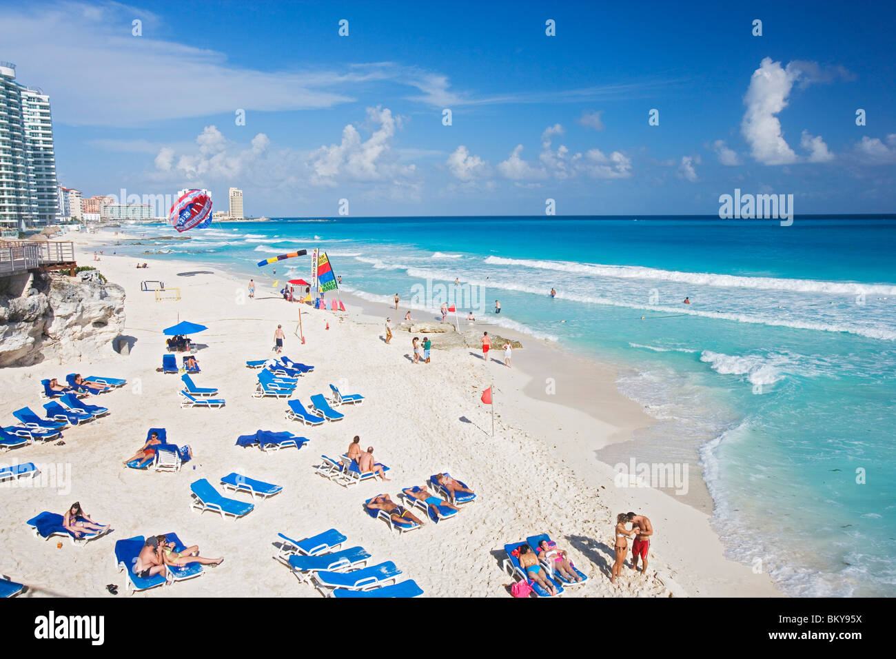 Chac-Mool beach, Cancun, State of Quintana Roo, Peninsula Yucatan, Mexico - Stock Image