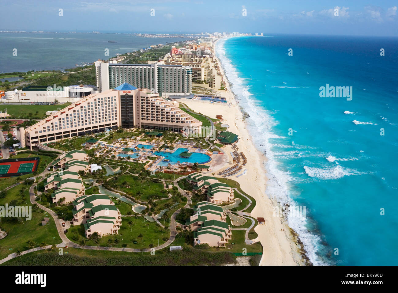 Aerial of the Hilton Cancun Spa Resort in the Zona Hotelera, Cancun, State of Quintana Roo, Peninsula Yucatan, Mexico - Stock Image