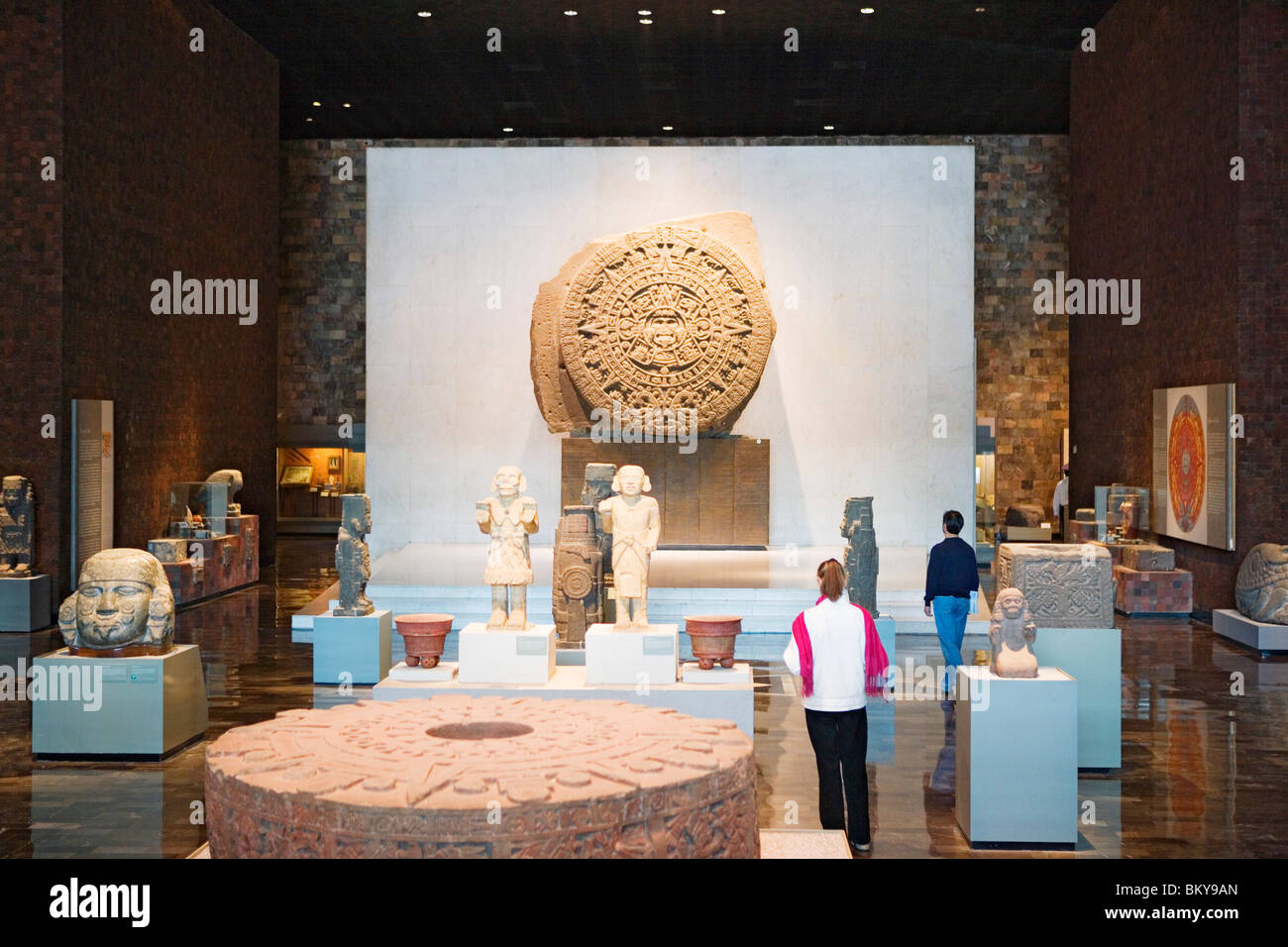 Entrance Hall with the aztec stone of the sun, National Anthropology Museum, Museo Nacional de Antropologia, Mexico - Stock Image