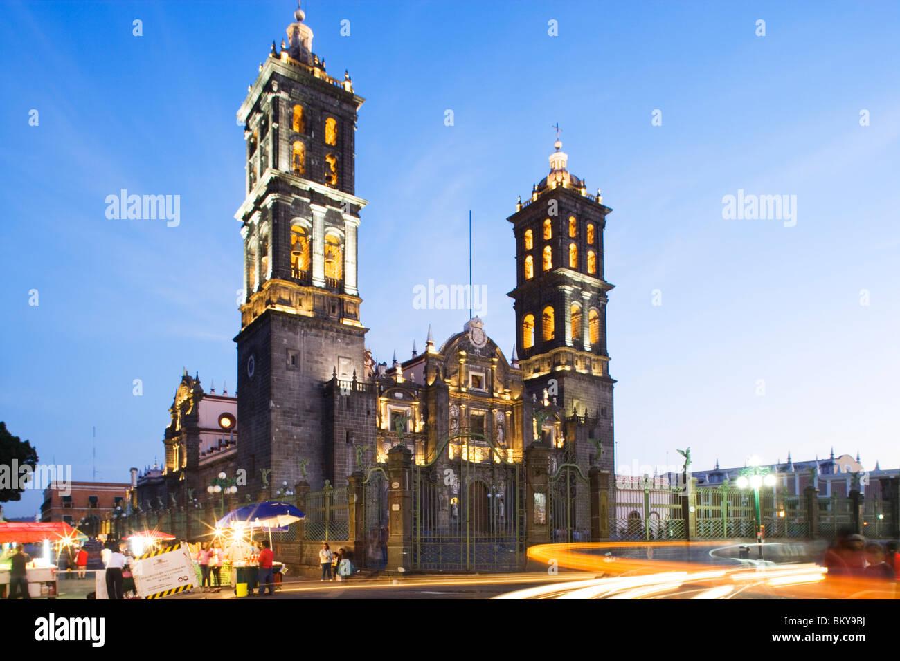Cathedral de Puebla, dedicated to the Immaculate Conception, Heroica Puebla de Zaragoza, also known as Puebla is - Stock Image