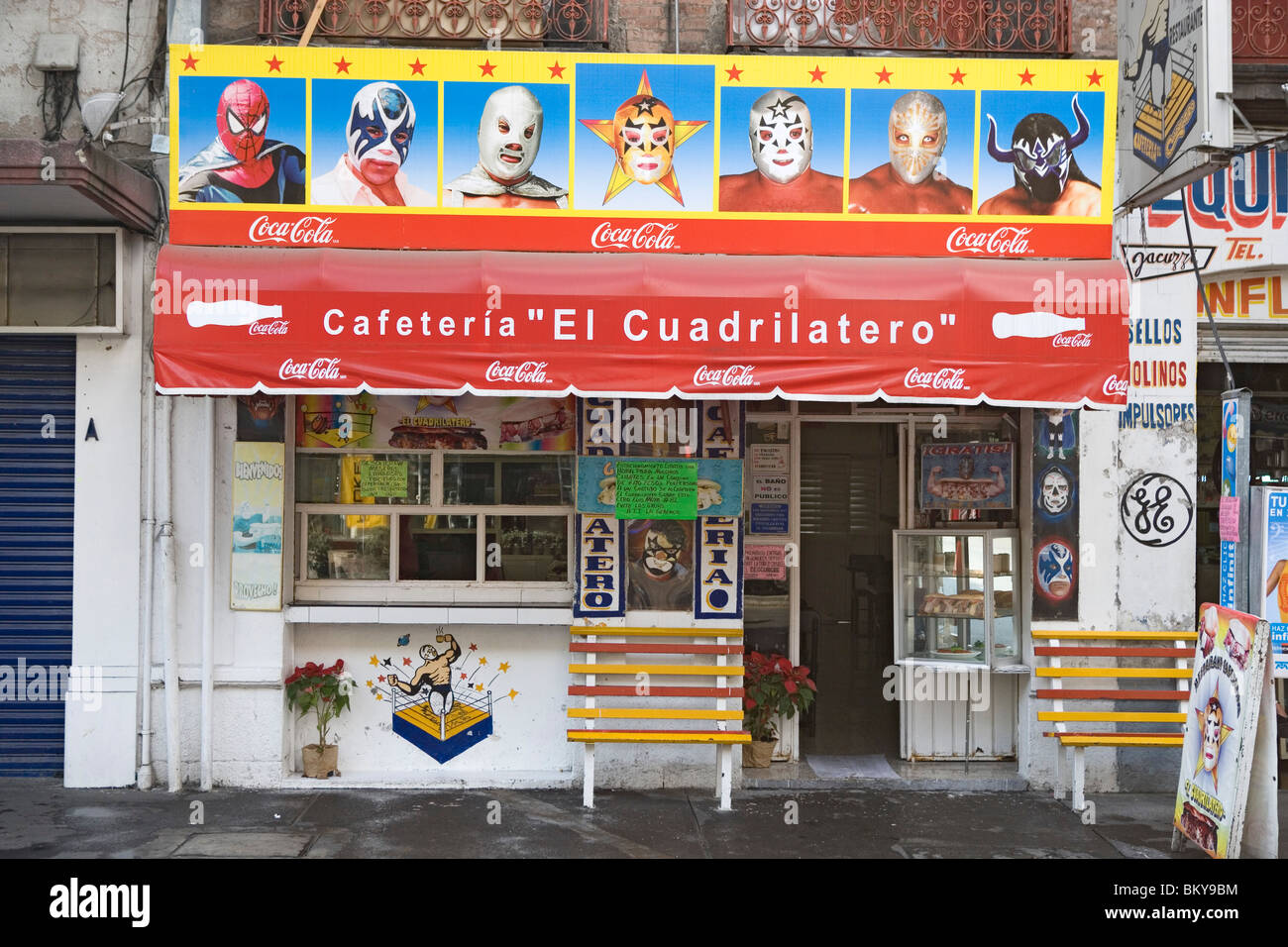 Cafeteria with paintings which illustrate masks of the Lucha libre, district of Alameda, Mexico City, Mexico D.F., Stock Photo