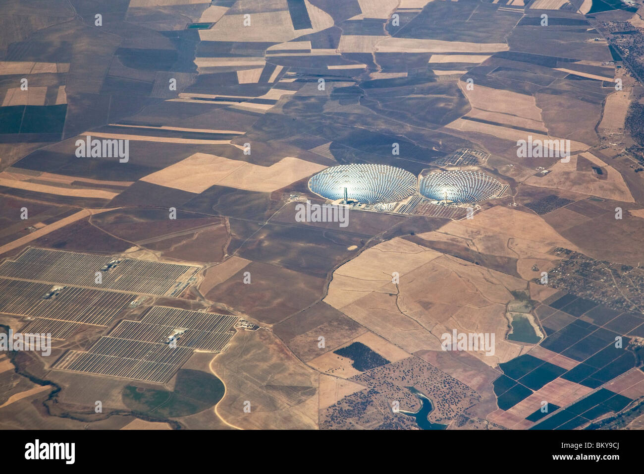 Aerial view of Solar Power Plant Eureka, Spain, Europe - Stock Image