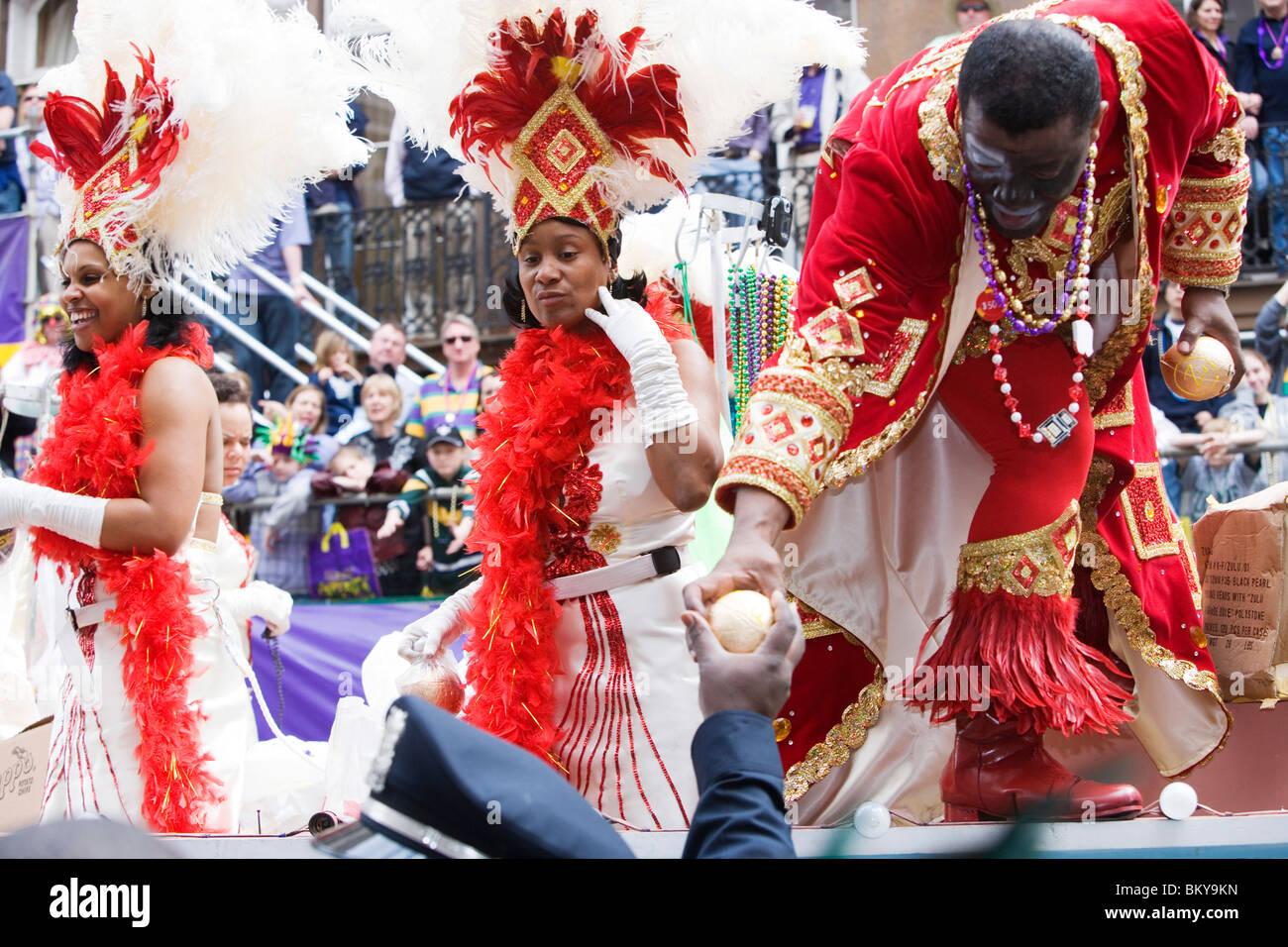 Carnival Parade on Mardi Gras, French Quarter, New Orleans, Louisiana, USA Stock Photo