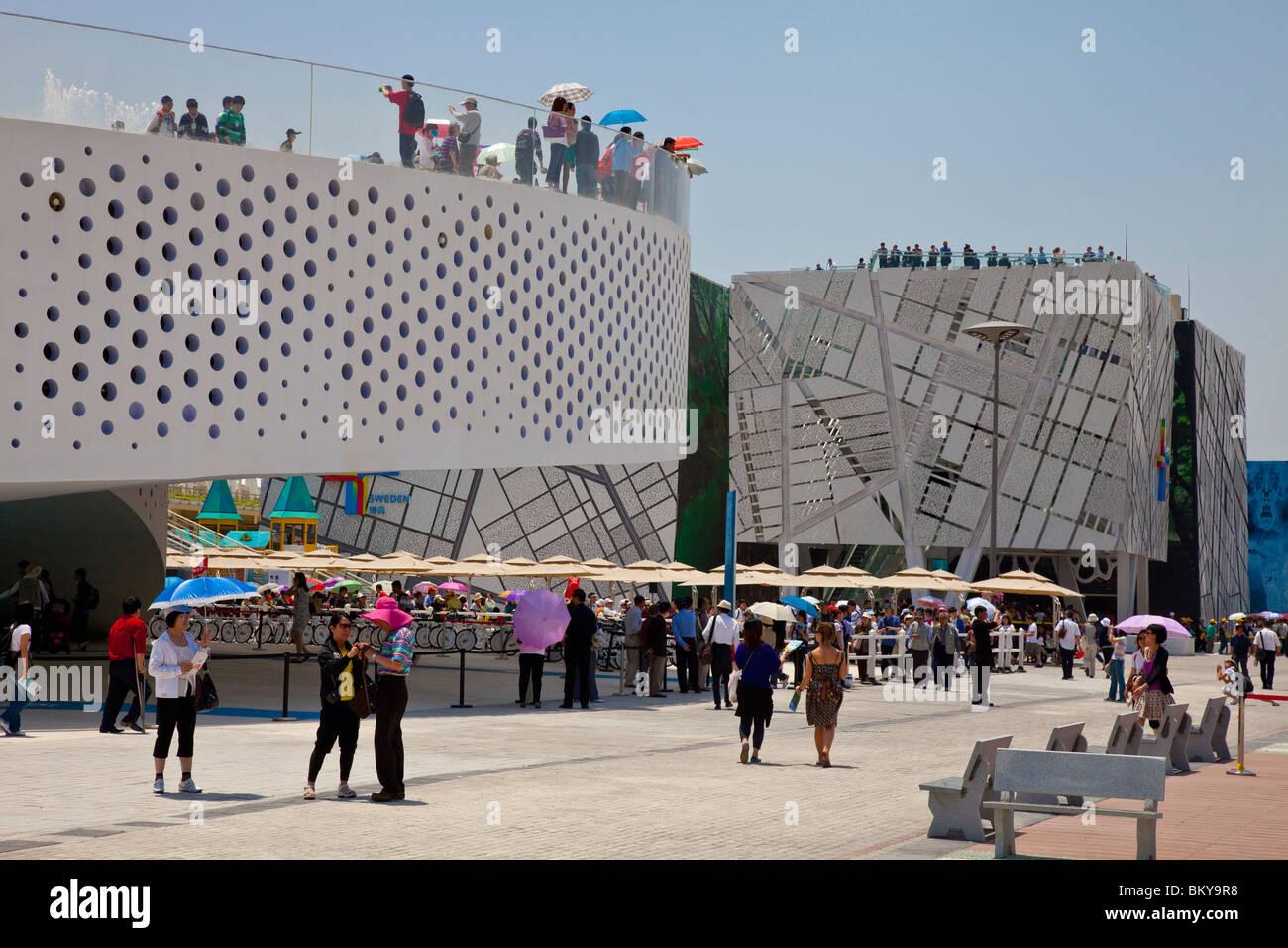 Denmark and Sweden Pavillion at Expo 2010, Shanghai, China World's Fair - Stock Image