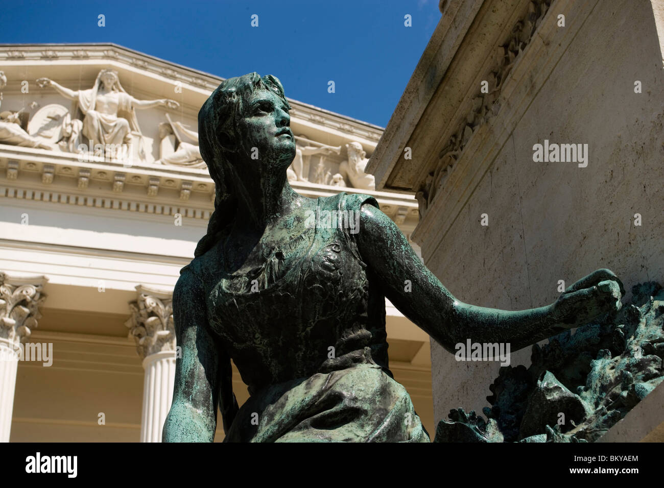 Arany Monument and Hungarian National Museum, Monument to Poet János Arany in front of Hungarian National Museum, Stock Photo