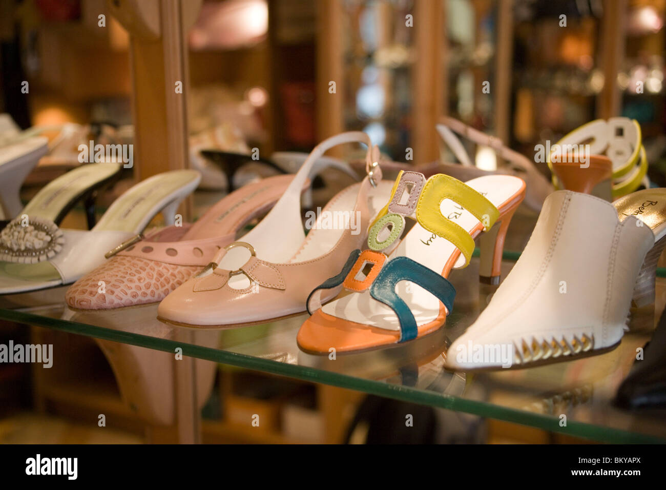 Outlay of a shoe boutique, Exclusive shoesof a shoe boutique at Vaci Street, Pest, Budapest, Hungary Stock Photo