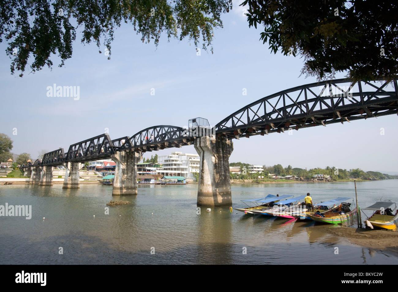 View to the River Kwai Bridge, built by prisoners of World War II of the Japanese, Kanchanaburi, Thailand - Stock Image