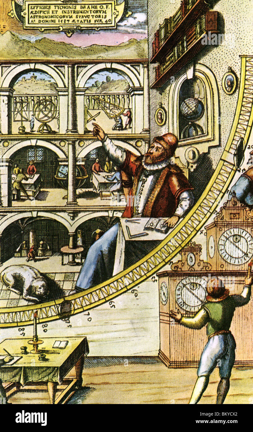 TYCHO BRAHE  with mural quadrant at  Uraniborg observatory on  island of Hven in his book Astronomiae instauratae - Stock Image