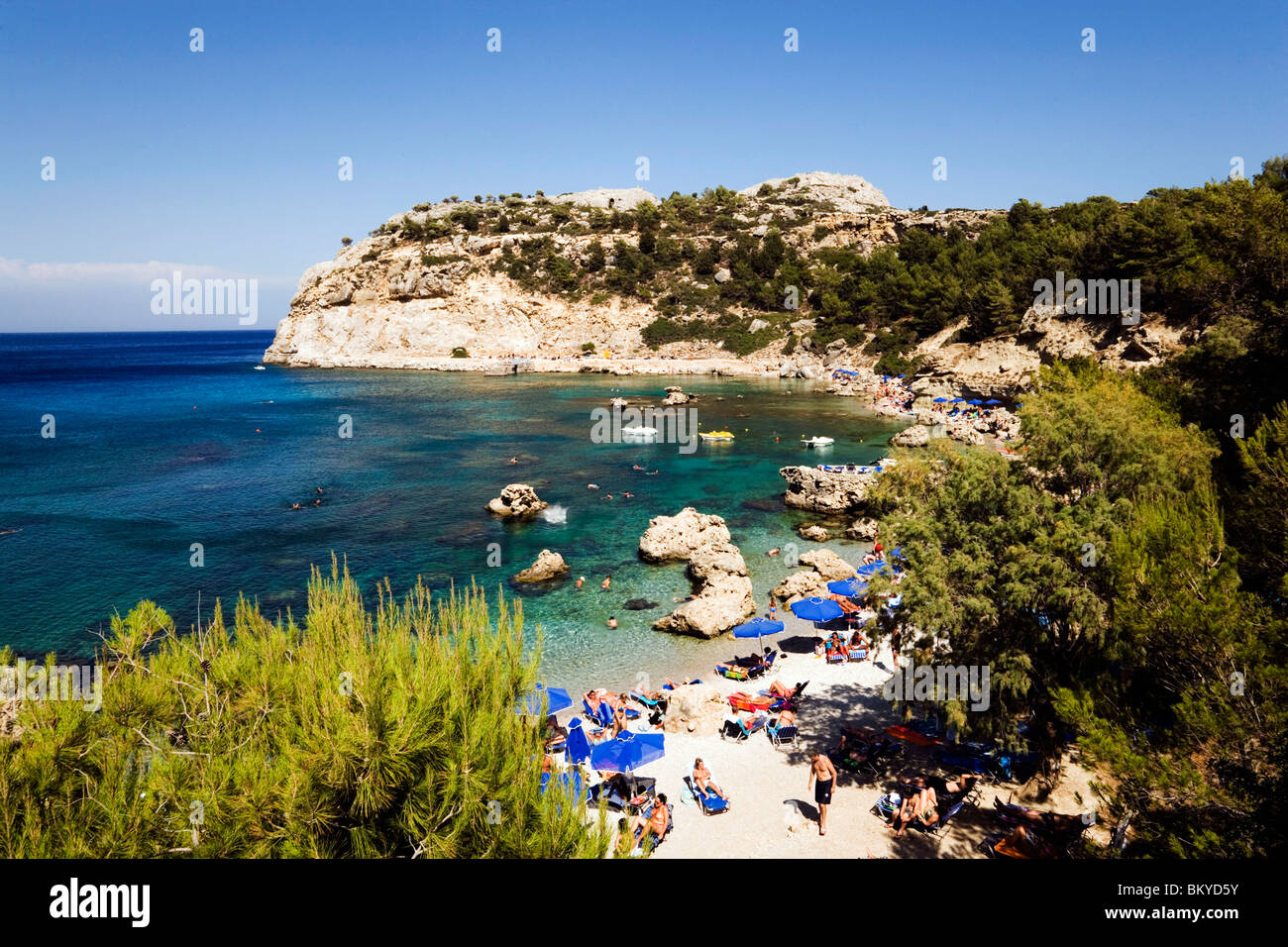 View over beach at Anthony Quinn Bay, film location of the film The Guns of Navarone, Falirakis, Rhodes, Greece - Stock Image