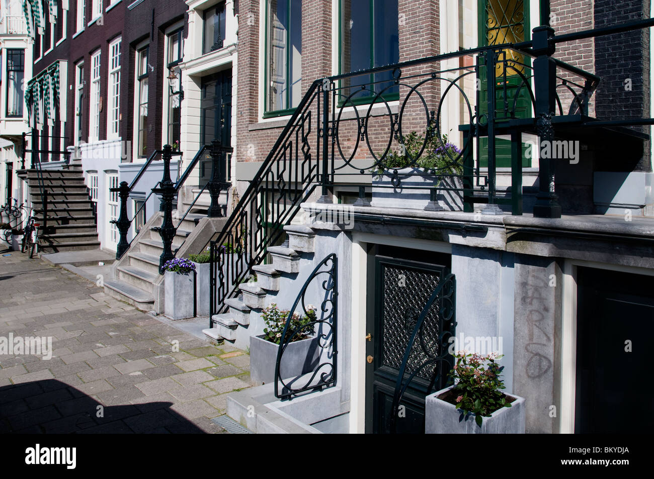 Amsterdam Canal House Stair Netherlands - Stock Image