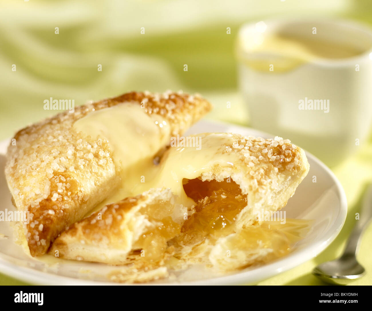 Apple turnover with custard - Stock Image