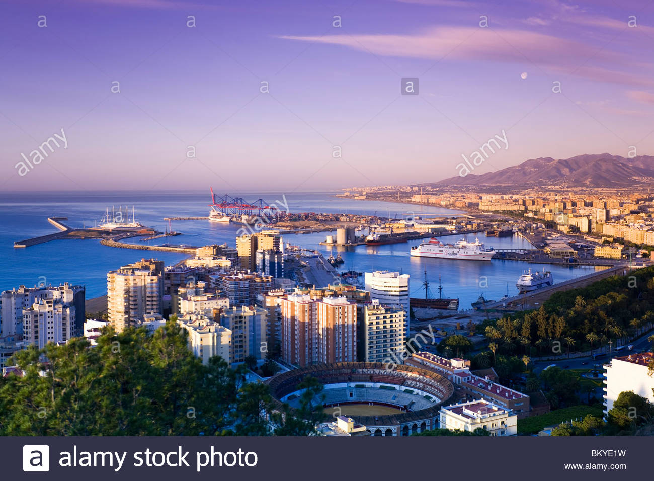 View from Gibralfaro towards Malaga and the harbour, Province Malaga, Andalucia, Spain - Stock Image