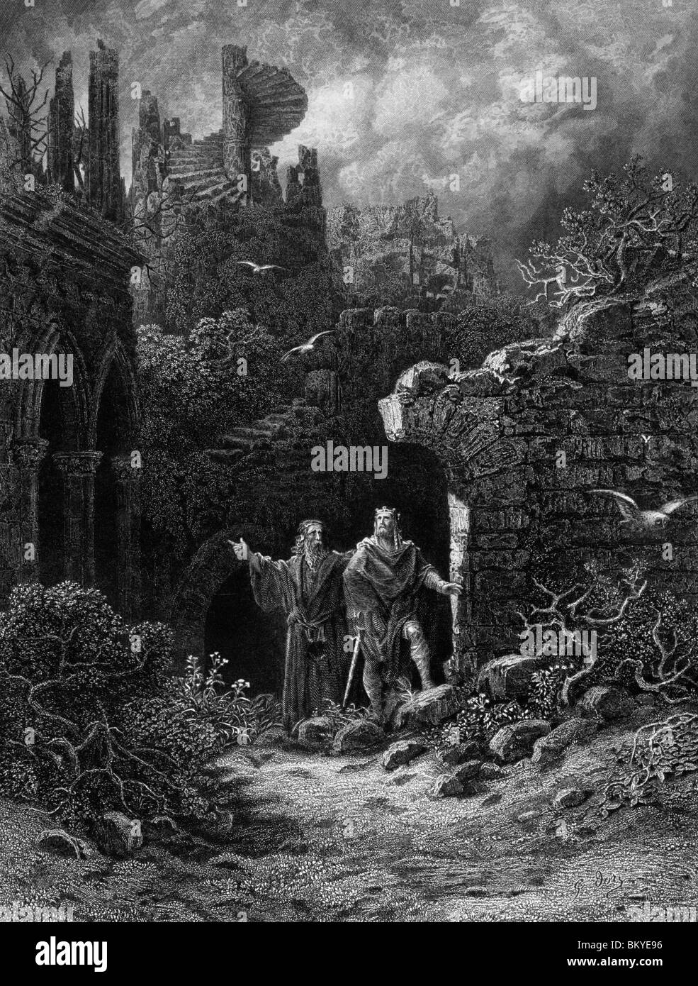Yniol showing Prince Geraint ruined castle  by Gustave Dore  from Idylls of the King  (1832-1883)  USA  Illinois - Stock Image