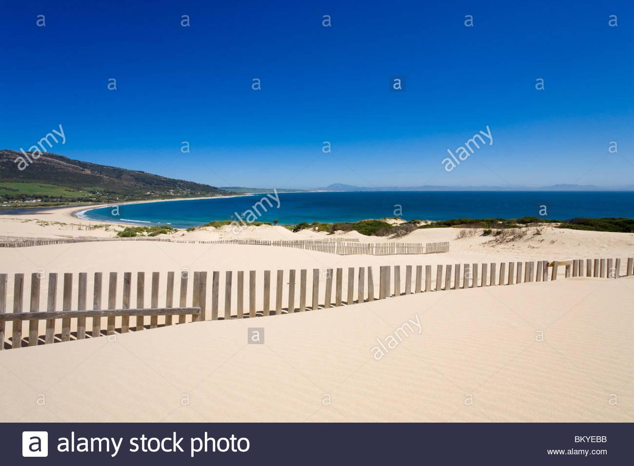 The big dunes near Tarifa, Africa on the horizont, Andalucia, Province Cadiz, Spain - Stock Image